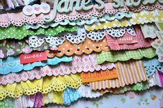 How to: Cut strips of patterned paper and trim or punch one edge of each strip with decorative scissors or a border punch. Spray each paper strip with water, crinkle, and let them dry. Stagger the paper strips across a cardstock block then place it below photos on a floral paper layout background. Make a title, write journaling on the edges, and embellish with stickers and a tag.
