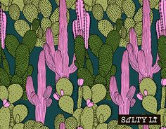 """Check out new work on my @Behance portfolio: """"Pink cactus pattern"""" http://be.net/gallery/52735897/Pink-cactus-pattern"""