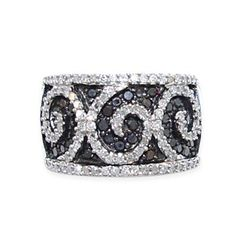 Close Out Deal Diamond (Rnd), Black Diamond Band Ring in Sterling Silver 1.000 Ct.