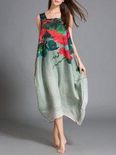 Multicolor Asymmetrical Printed Sleeveless Linen Midi Dress | StyleWe.com