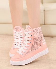 Pink lace sneakers