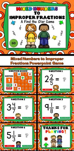 """Practice changing mixed numbers to improper fractions with this exciting """"Find the Star"""" game. Students must successfully change a mixed number into an improper fraction in order to locate a star. There are 5 stars to find in all. Don't tell them how many stars there are though Even if they find all 5, keep them thinking there are more to find!"""