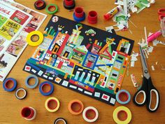 the newspaper + colored tape = a load of sunday morning collage fun! i ordered a jar of these fabulous crepe tapes from red bow studio. School Art Projects, Projects For Kids, Kids Crafts, City Collage, 6th Grade Art, Ecole Art, Classroom Crafts, Middle School Art, Art Lessons Elementary