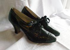 1930s Vintage NOS Shoes Size 6 Black Lace Up by MyVintageHatShop, $125.00
