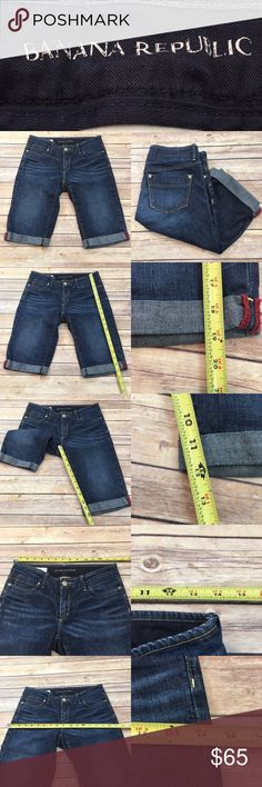 🏝Sz 2 Banana Republic Fold Up Bermuda Jean Shorts Measurements are in photos. Normal wash wear, no flaws. F3/31  I do not comment to my buyers after purchases, due to their privacy. If you would like any reassurance after your purchase that I did receive your order, please feel free to comment on the listing and I will promptly respond. I ship everyday and I always package safely. Thanks! Banana Republic Shorts Bermudas