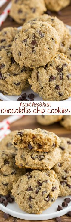 These EASY Skinny Chocolate Chip Cookies are heart healthier! They have less butter, less sugar, and oat flour...but are the perfect cookie!