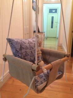 Handmade Burlap Baby Swing, Toddler Swing or Kids Swing and Rattle
