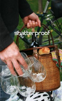 go vino shatterproof, reusable, recyclable, bpa-free wine glass. Could use for patio parties, picnics, even camping?