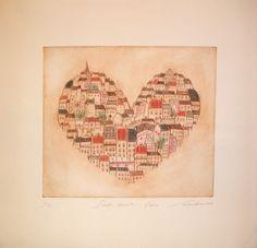 Gravures & Estampes | Sayaka Abe | Sweet Heart Paris | Tirage d'art en série limitée sur L'oeil ouvert Street Art, Art Graphique, Paris, Vintage World Maps, Japan, Sweet, Illustration, Artwork, Contemporary Photography