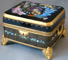 Antique Hand Painted Enamel Bohemian Moser Glass Bronze Dore Jewelery Casket