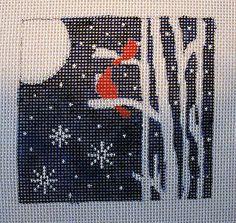 Hand Painted Winter Birds Needlepoint Canvas   eBay