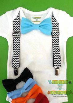 Baby Boy Clothes - Bow Tie Onesie - Baby Birthday Onesie - Boy Coming Home Outfit -Black Chevron Suspenders With Aqua Bow Tie - Infant Boy