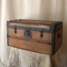 Vintage Wooden Chest, French Country Decor