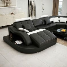 Moderna Black and White Bonded Leather Sectional Sofa: