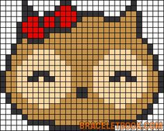 Free Cute Kawaii Owl Cross Stitch Chart or Hama Perler Bead Pattern
