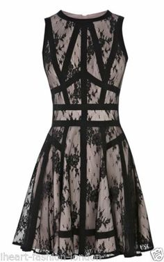 Karen Millen Black Floral Lace Sheer Panel Ribbon Skater Flare Dress 10 | eBay