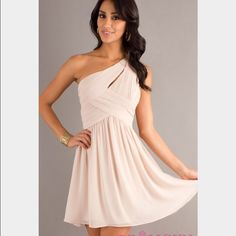 One Shoulder Short Dress Beautiful short one shoulder champagne dress perfect for a semi-formal dance, prom, or any occasion. Elegant and classy. New with tags/never been worn! Dresses Mini