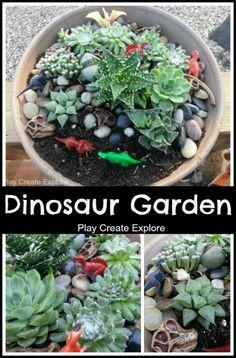 Play Create Explore: Miniature Dinosaur Garden---good idea for boys instead of a fairy garden Dinosaur Garden, Small World Play, Fairy Houses, Outdoor Fun, Outdoor Ideas, Succulents Garden, Amazing Gardens, Indoor Plants, Outdoor Gardens
