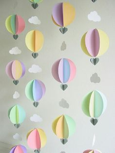 Paper hot air balloons + clouds as an online class backdrop. Decoration Creche, Decorations, Diy For Kids, Crafts For Kids, Diy And Crafts, Arts And Crafts, Kawaii Diy, Paper Crafts Origami, Holidays And Events