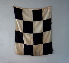 Vintage Linen Navy and White Check Nautical Signal Flag