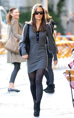 Sweater dresses are aswsome for fit women. I ESPECIALLLY like the sleves on this one.