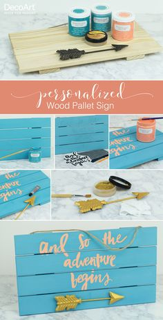 Make your own personalized wood pallet sign with DecoArt paint!