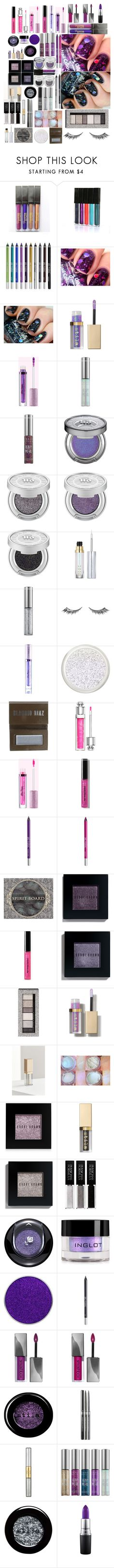 """""""#PolyPresents: Sparkly Beauty - Spectrum: Pink & Purple To Black, White & Silver"""" by wastedstalker ❤ liked on Polyvore featuring beauty, Urban Decay, Stila, Lime Crime, Claudio Riaz, Christian Dior, Bobbi Brown Cosmetics, Physicians Formula, Universal and Lancôme"""