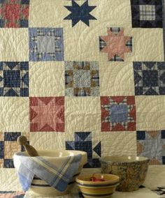 Antique Quilt...and yellow ware bowls...Persnickety Quilts.