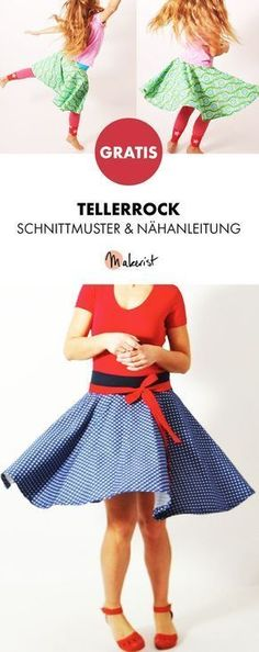 Free instructions: Sew plate skirt yourself - pattern and sewing instructions via . : Free Instructions: Sew plate skirt yourself – pattern and sewing instructions via Makerist. Skirt Patterns Sewing, Baby Knitting Patterns, Clothing Patterns, Pattern Sewing, Girls Knitted Dress, Knit Baby Dress, Free Sewing, Sewing For Kids, Circle Skirt Pattern