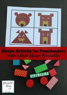 Shape Activity for Preschoolers with Free Bear Shape Printable Workspace Bear Activities Preschool, Geometry Activities, Drawing Activities, Preschool Activities, Preschool Shapes, Teddy Bear Crafts, Goldilocks And The Three Bears, Bear Theme, Shape Crafts