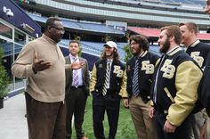 Guest speaker Andre Tippett, New England Patriots executive director of community affairs, East Bridgewater Junior/Senior High School principal Paul Vieira, Jared Vargus, Mike Chaupetta, Ryan Graham, and Nick Bainter, during the annual Football State Championship Breakfast at Gillette Stadium, on Tuesday, Dec. 1, 2015. (Marc Vasconcellos/The Enterprise)