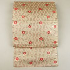 Mild cream nagoya obi /【名古屋帯】生成り地立涌菊花柄六通 #Kimono #Nikko #Japan http://global.rakuten.com/en/store/