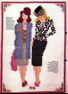 0 point de croix mode femme 1940 - cross stitch lady fashion 1940s Cross Stitching, Cross Stitch Embroidery, Cross Love, Retro 4, Stitch 2, Cross Stitch Flowers, Handicraft, Stitch Patterns, Needlework