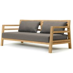 Ethimo Costes 3 Seater Sofa Natural Teak with Nature Grey Seat & Back... ($3,625) ❤ liked on Polyvore featuring home, outdoors, patio furniture, brown, outdoor garden furniture, teak patio furniture, outside patio furniture, teak wood outdoor furniture and gray patio furniture