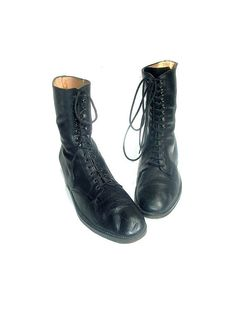 90s LACE UP black leather  italian by lesclodettes on Etsy, $79.00