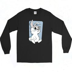 Hipster Bunny Eyeglasses Vintage 90s Long Sleeve Shirt Short Models, 90s Outfit, Eyeglasses, Going Out, Long Sleeve Shirts, Graphic Tees, Bunny, Short Sleeves, Hipster