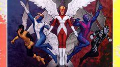 X-Men Evolutions Archangel Marvel Comics Poster - 46 x 30 cm Marvel Comic Character, Comic Book Characters, Marvel Characters, Comic Books Art, Comic Art, Book Art, X Men Evolution, X Men Marvel, Marvel Comics