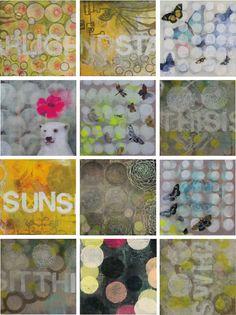 Sunshine oil, acrylic, spray paint, pencil, collage, gel transfer on wood