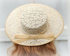 1950s Wide Brim Vintage Lace Hat  Wedding Hat  Bridal Bridesmaid. $23.00, via Etsy.