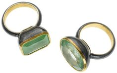 Judy Geib - emeralds in 24k and silver setting.