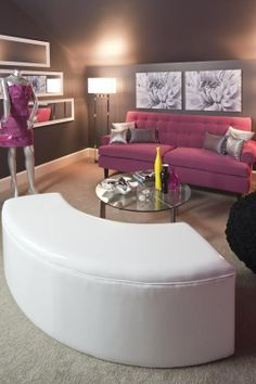 This would be in my own personal FASHION ROOM. That's right! Fashion room! Complete with my dream walk in closet (one of other pins on this board) and maybe a whole counter of makeup with a full body mirror with a zebra print border! Yes that's it! #dreamon
