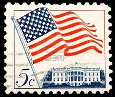 vintage stamp with The White House