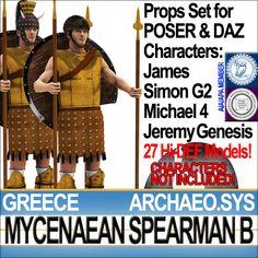 Greek Mycenaean Spearman B [1200 BC]. 27 HD 3D models for POSER James-Simon G2 & DAZ Michael4-JeremyGenesis. Faithful, accurate Reconstructi...