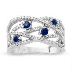 Sapphire and Diamond Orbit Band in 14K White Gold
