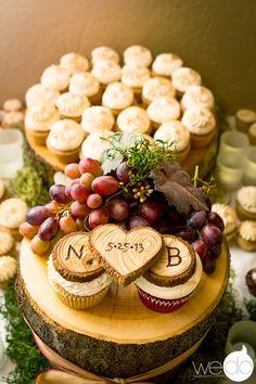 "Wedding cupcakes and custom fondant ""wood"" toppers by www.shugarshugar.com"