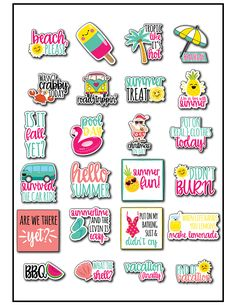 5050e5eeeaf Free summer planner stickers are the perfect way to bring a little colorful  fun to your planner this summer. A Silhouette cut file is included with  these ...