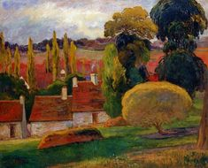 Farm in Brittany by Paul Gauguin in oil on canvas, done in Now in Metropolitan Museum of Art. Find a fine art print of this Paul Gauguin painting. Paul Gauguin, Vincent Van Gogh, Henri Matisse, Artist Canvas, Canvas Art, Impressionist Artists, Art Moderne, French Artists, Art Plastique