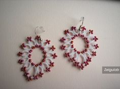 Wedding tatted Earrings with red seed beads Bridal by Zelgulab