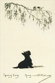 Scottish Terrier in Spring Illustration by Marguerite Kirmse - 1930 Cairn Terriers, Terrier Dogs, Scottish Terriers, West Highland White Terrier, Dog Illustration, Vintage Dog, Westies, Dog Art, Best Dogs