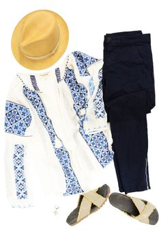 Nil Lotan Bohemian Blouse, Crippen 33 Jean in Faded Navy, Rag & Bone Summer Fedora, Brunello Cucinelli Jute & Monili Sandal, The Woods Fine Jewelry Ring, The Woods Fine Jewelry Moon & Star Ring